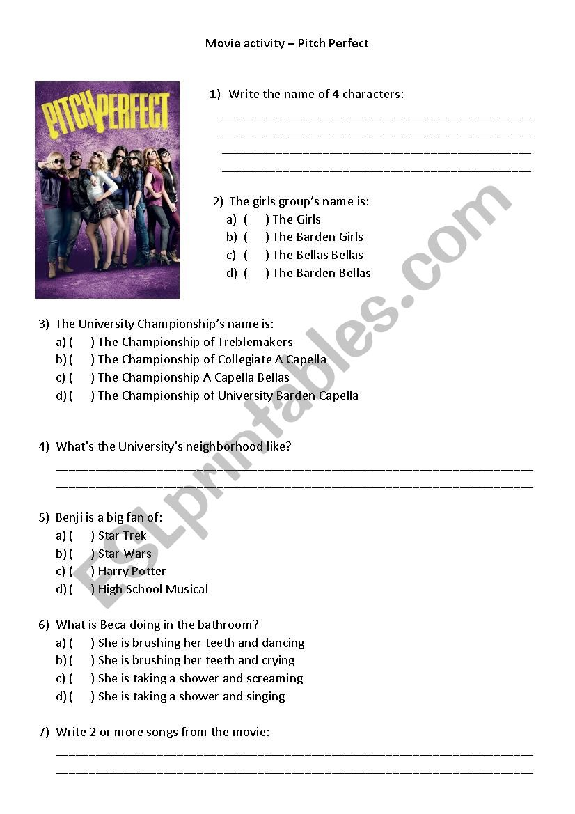 Movie Activity - Pitch Perfect - ESL worksheet by CamilaMacedo