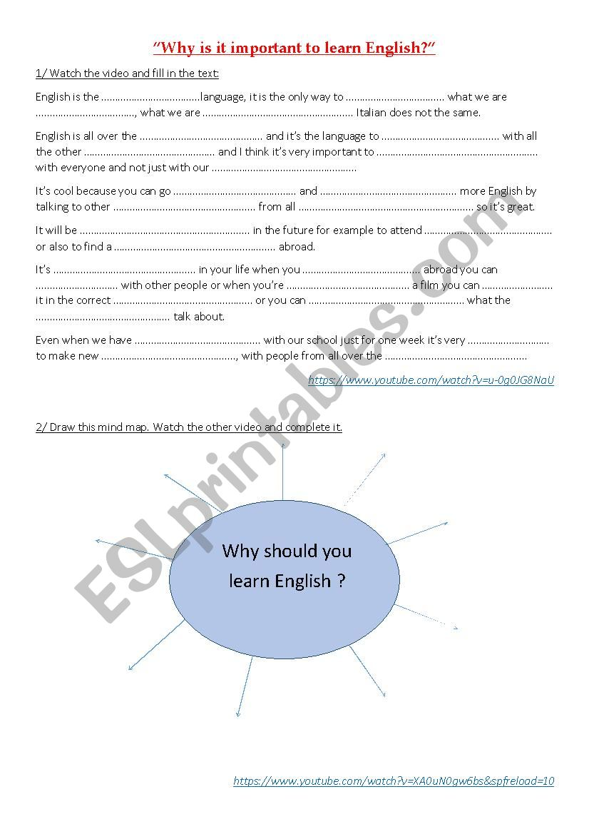 Why is it important to learn English? - ESL worksheet by ...