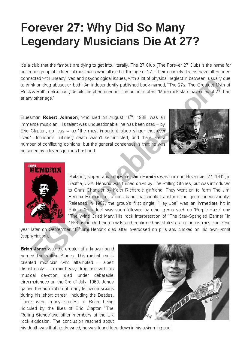 The Forever 27 Club worksheet