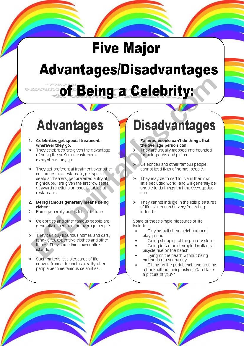 advantages and disadvantages of being famous ielts