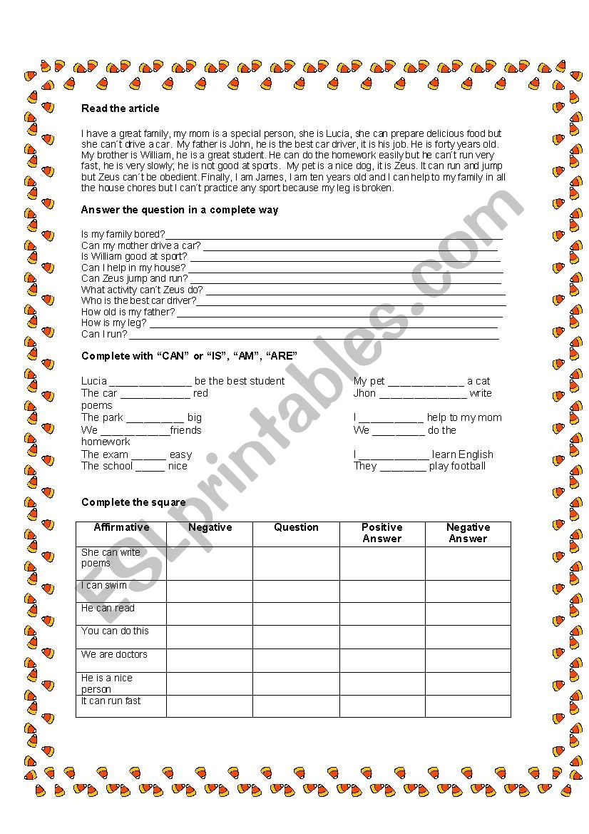 can worksheet