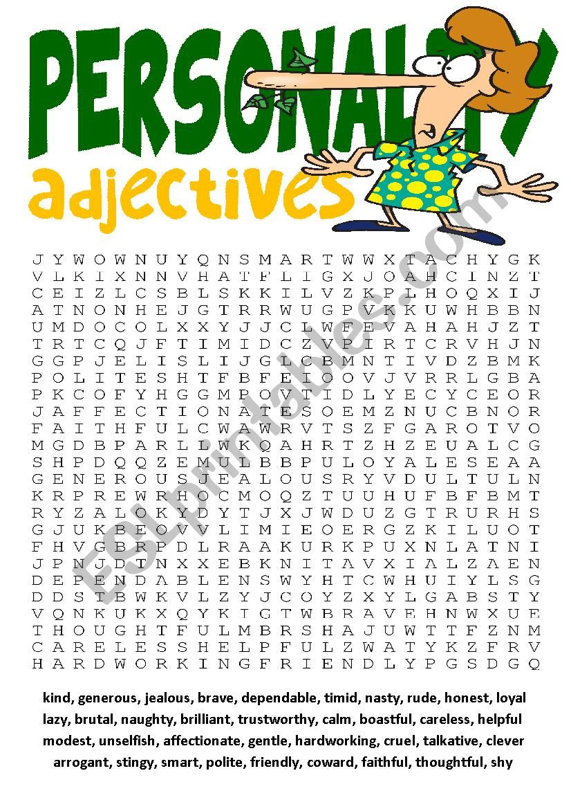 Wordsearch Series1-Personality Adjectives Wordsearch and Other Vocabulary Exercises
