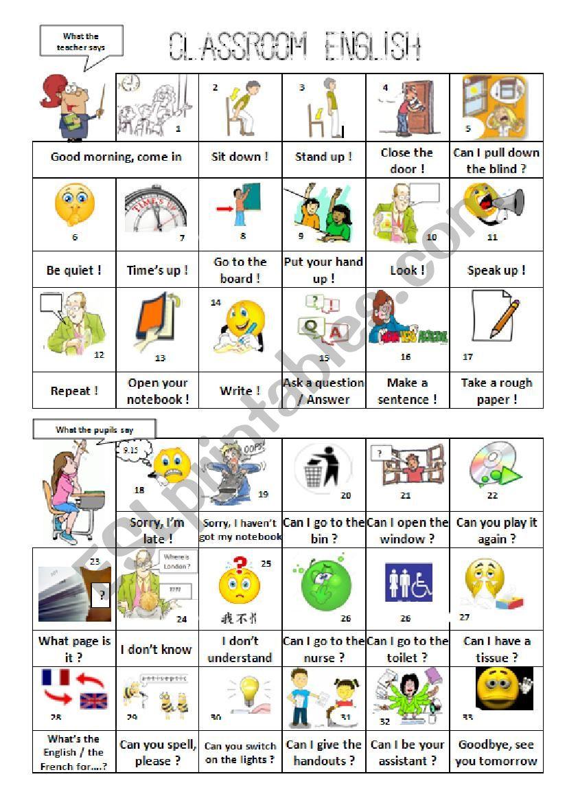 Classroom English Part 2 worksheet
