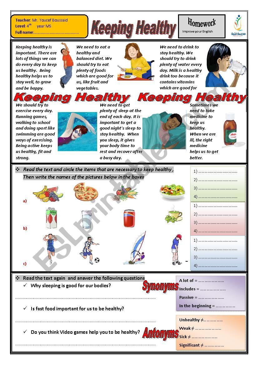Keeping Healthy worksheet