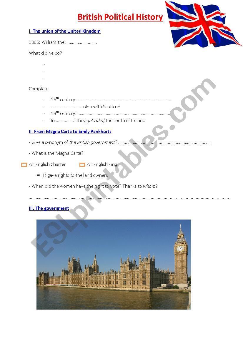 British political history worksheet