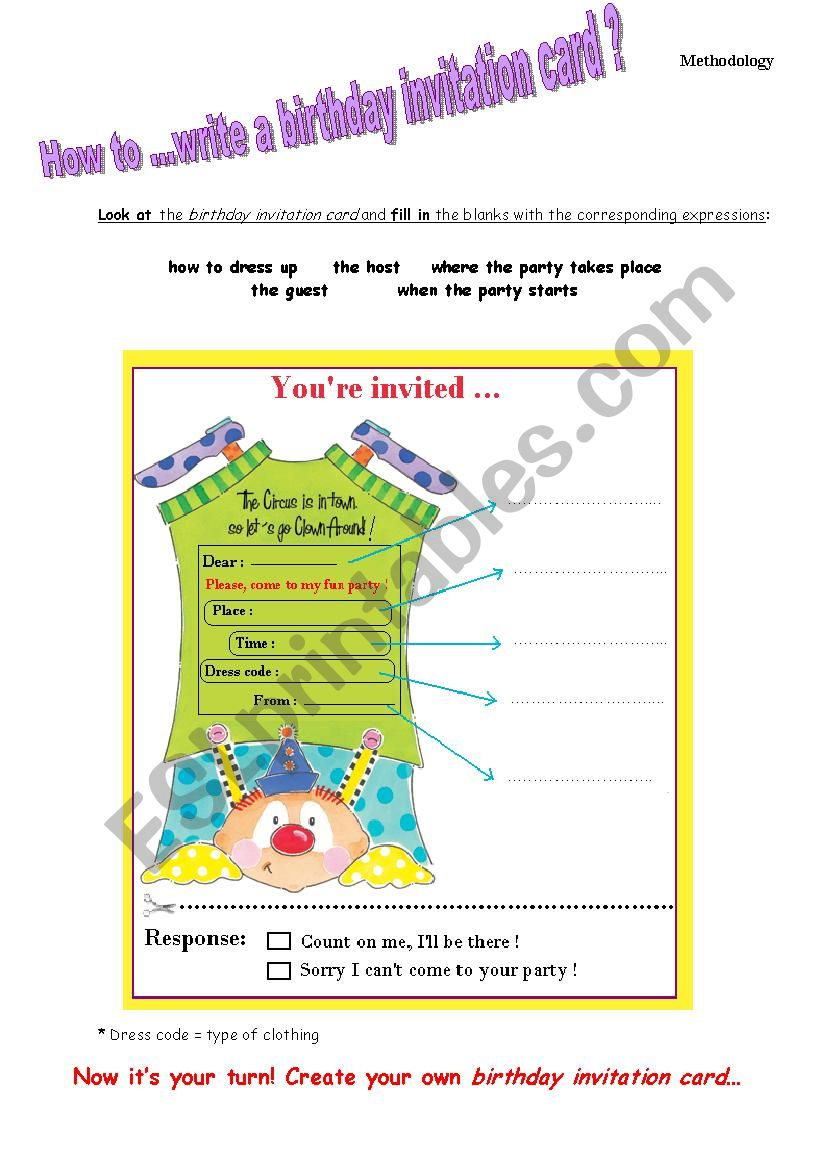 Brilliant How To Write A Birthday Invitation Card Esl Worksheet By Personalised Birthday Cards Paralily Jamesorg