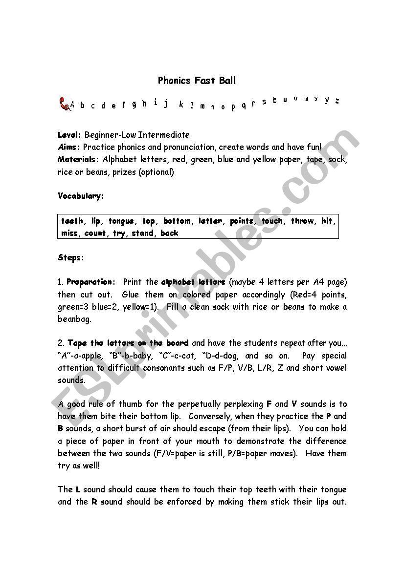 Phonics Fast ball - ESL worksheet by spirit98