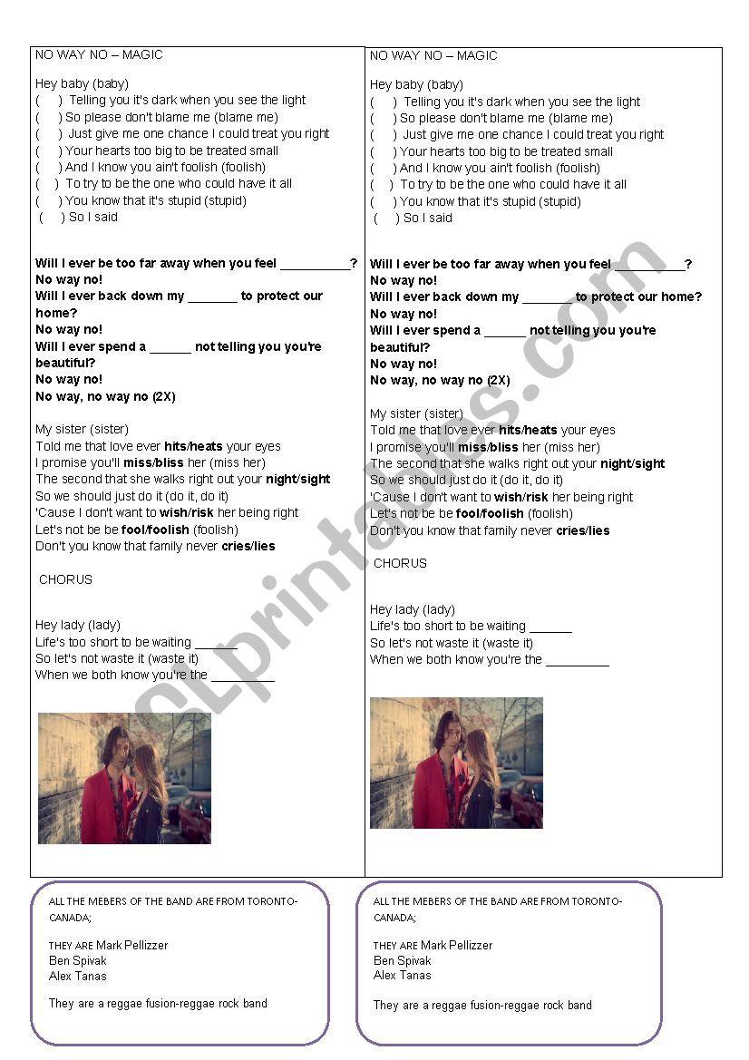 English worksheets: song no way no - magic