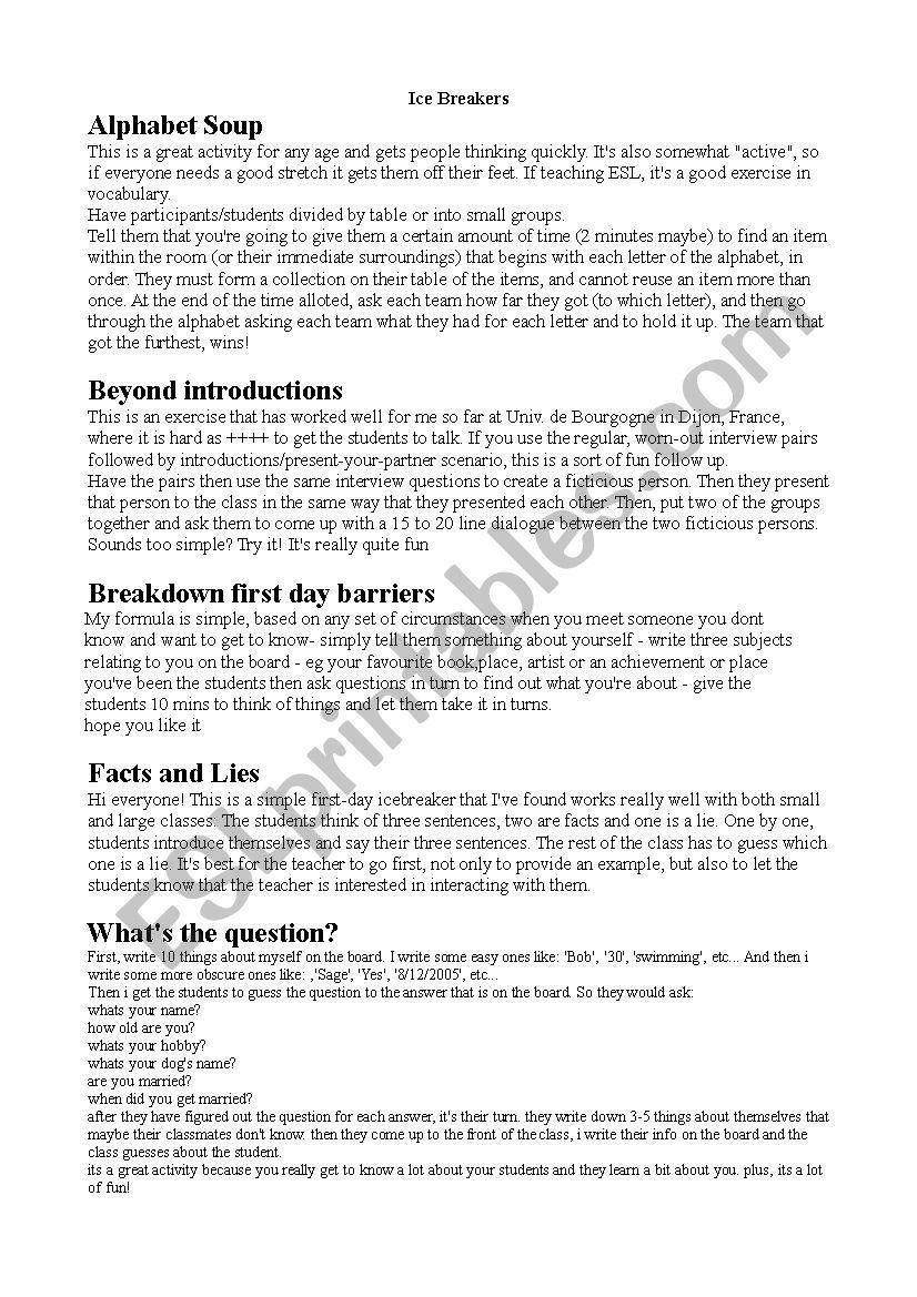 Ice Breakers worksheet
