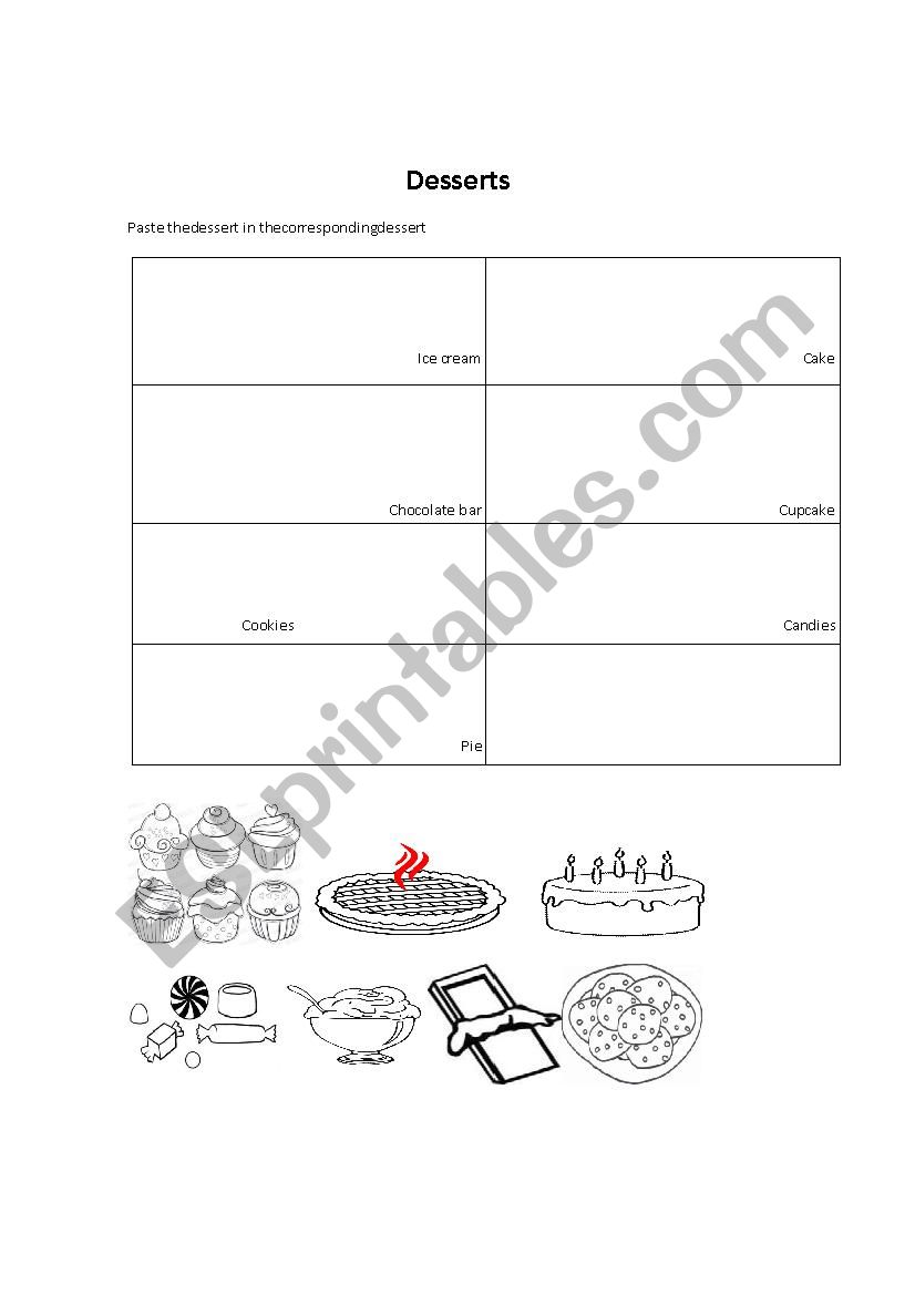 Desserts worksheet
