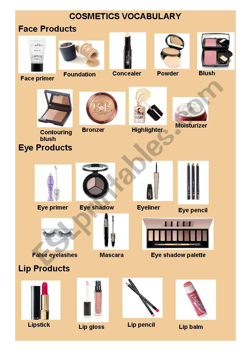 Makeup and cosmetic vocabulary