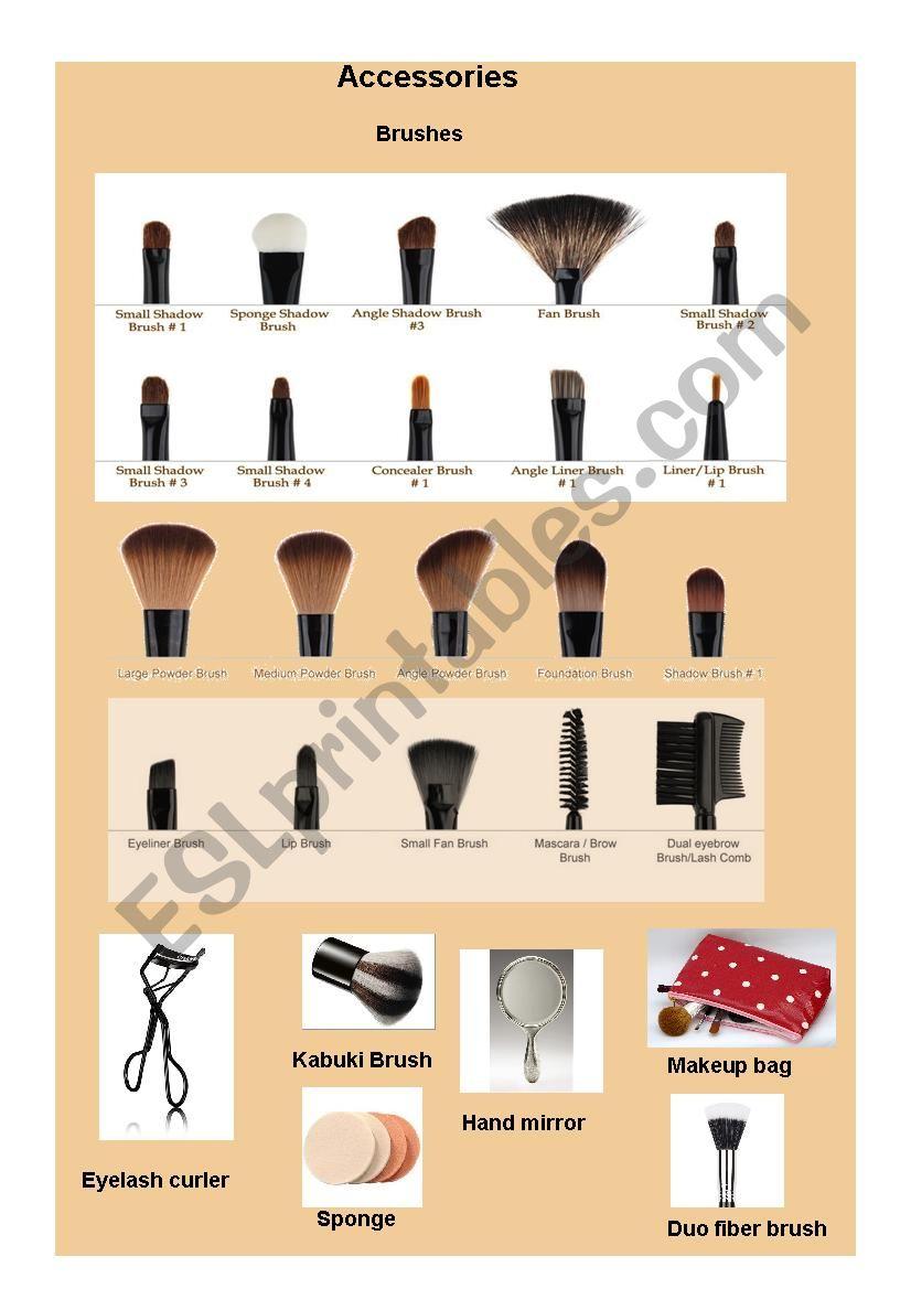 makeup accessories vocabulary worksheet