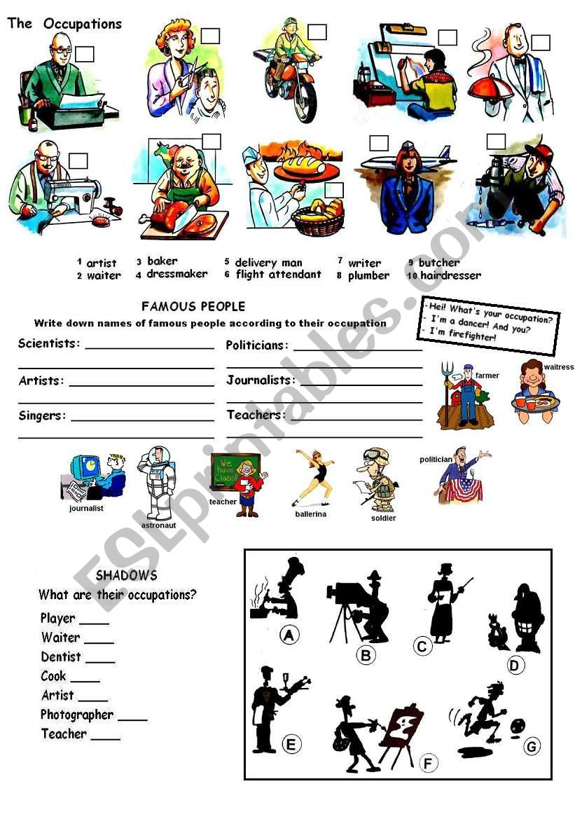 Occupations and Jobs worksheet