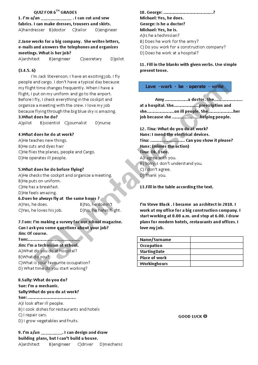 a quiz on jobs and present simple - ESL worksheet by irmakk