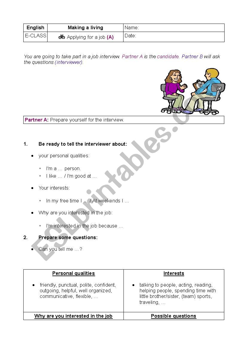 job interview (dialogues) - ESL worksheet by brailsford08