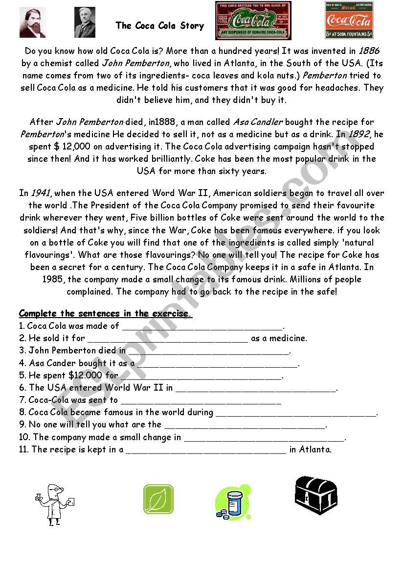 the coca cola story worksheet