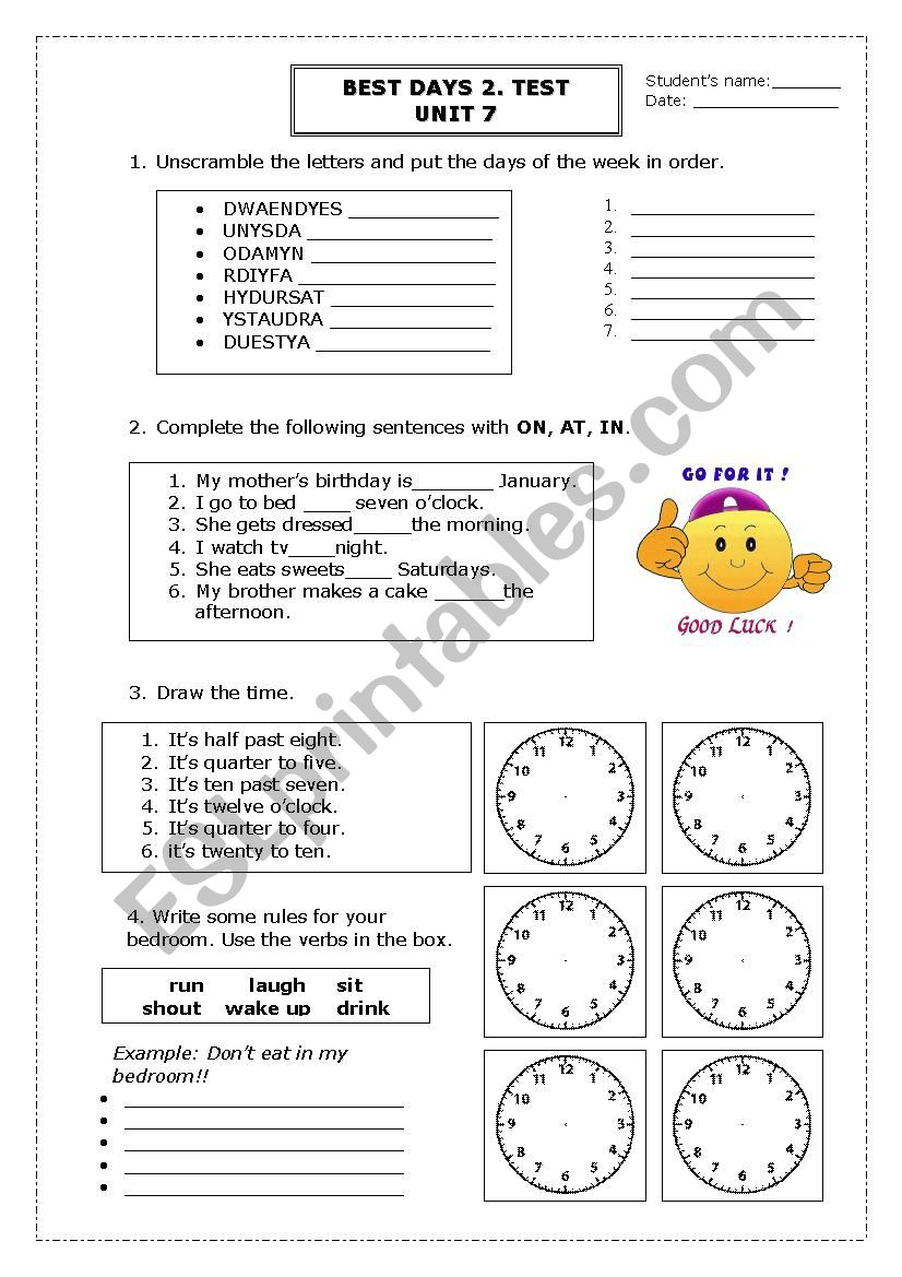 BEST DAYS 2. TEST.UNIT 7 worksheet