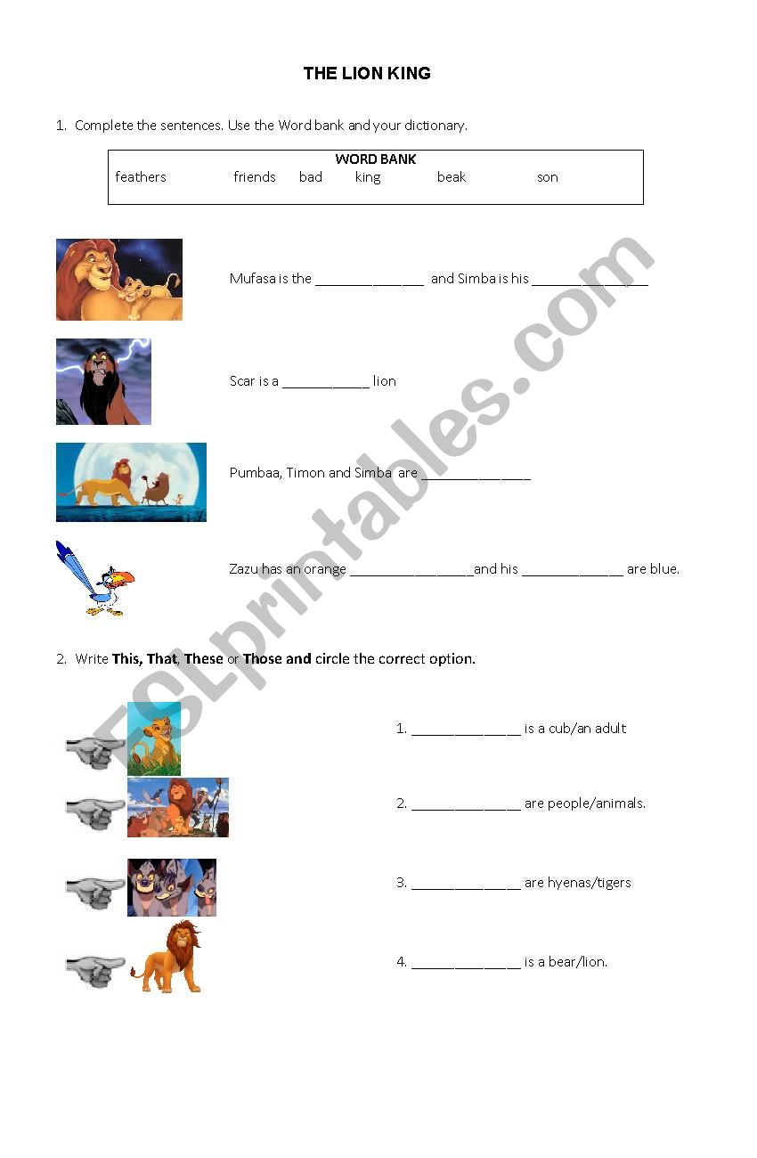 The Lion King Movie Worksheet Esl Worksheet By Andrea0228