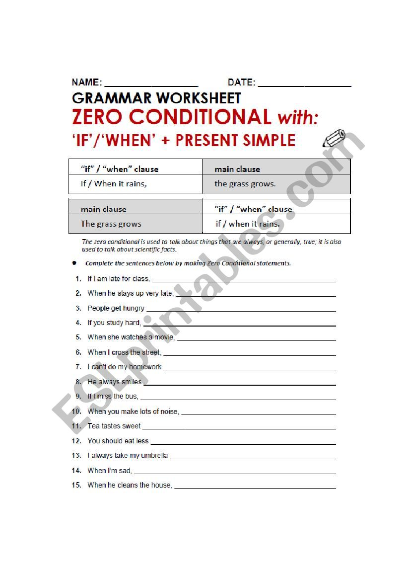 Zero Conditional Esl Worksheet By Jearlufo