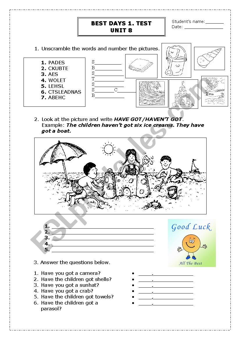 BEST DAYS 1. TEST.UNIT 8 worksheet