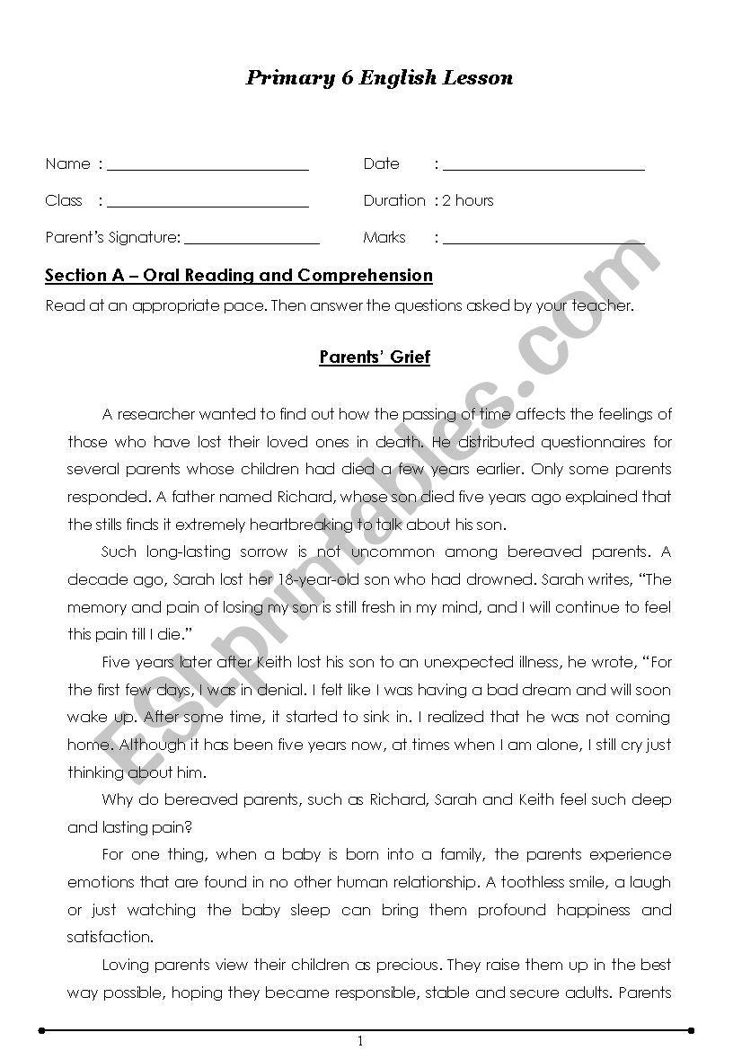 - English Oral Primary 6 - ESL Worksheet By Jeanifer1301
