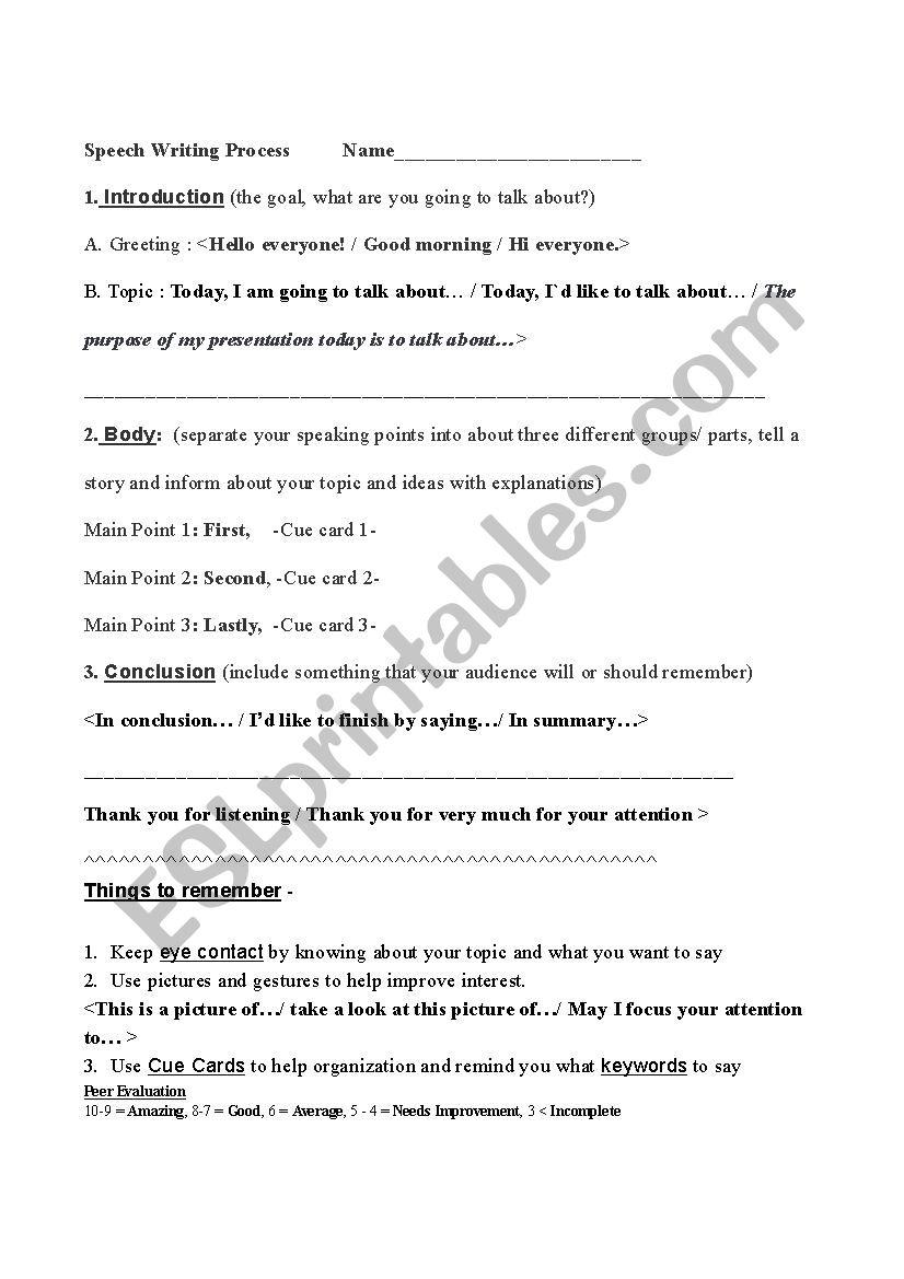 Speech Writing Process  worksheet
