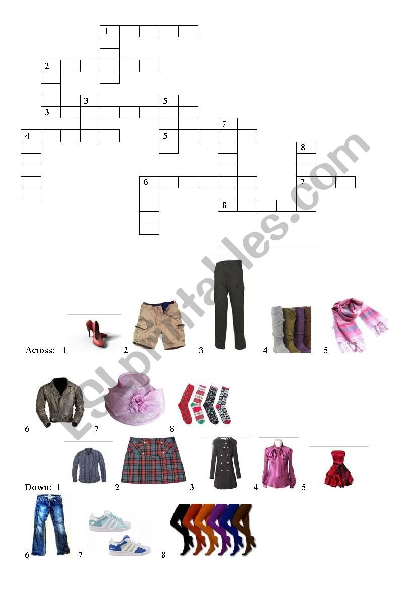 Clothes / crosswords worksheet
