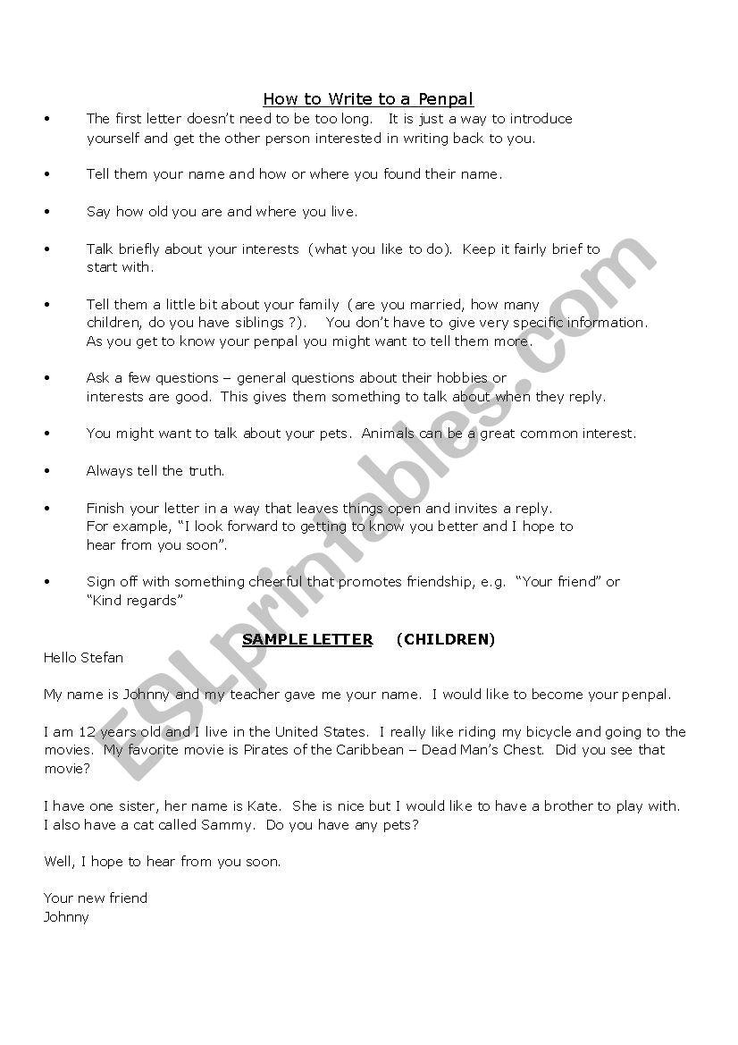 Penpal letter - ESL worksheet by abuelita miri