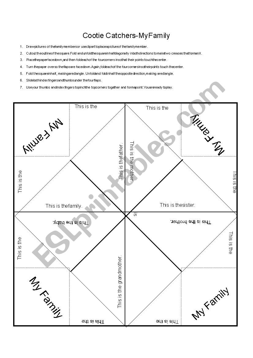 My Family Cootie Catcher worksheet