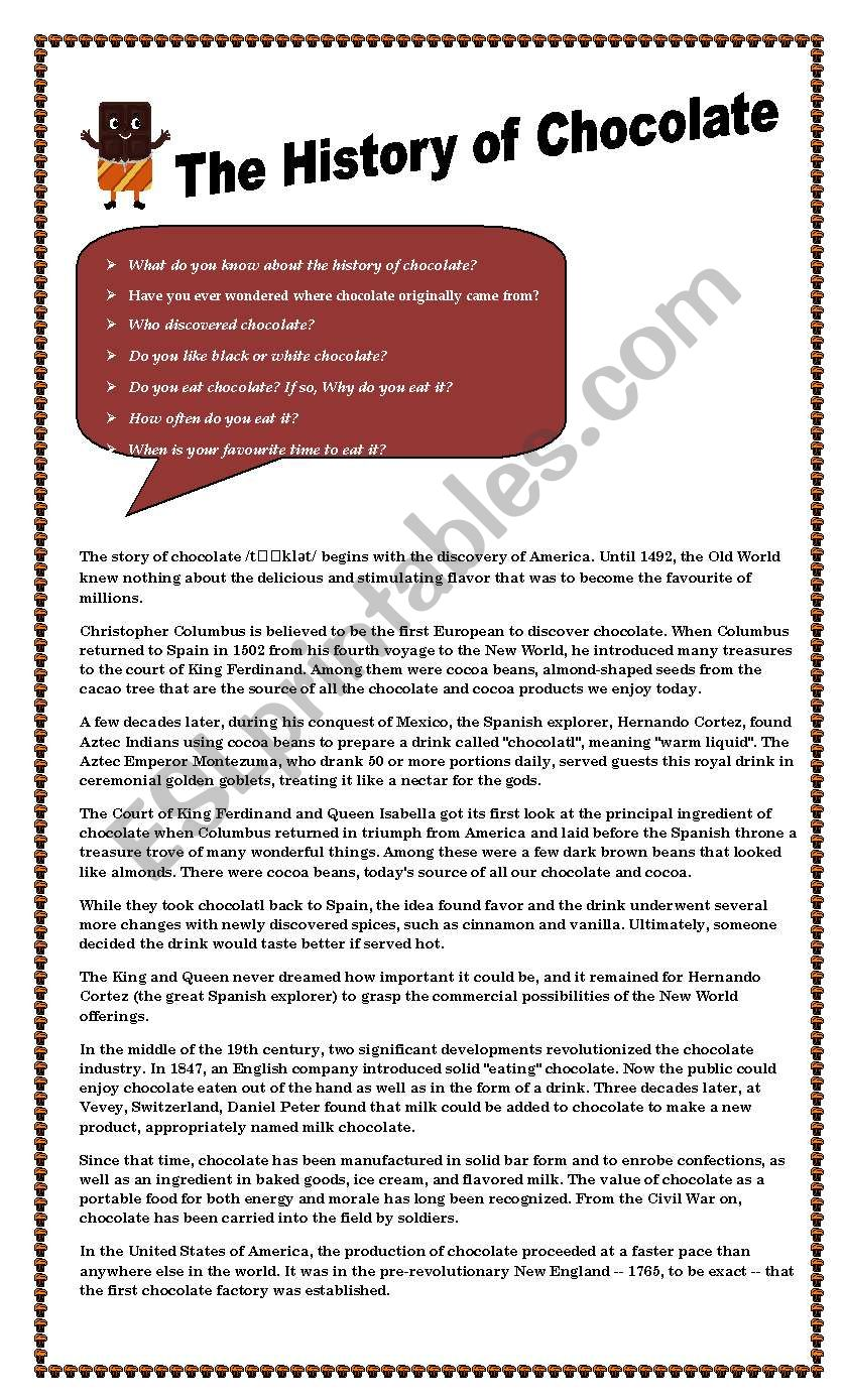 The history of chocolate worksheet