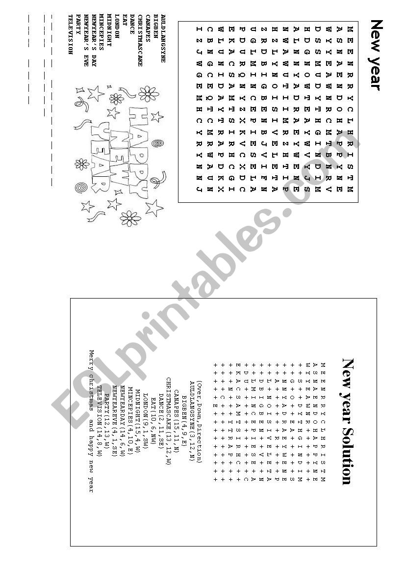 photograph relating to New Years Word Search Printable known as Clean Calendar year wordsearch - ESL worksheet by way of loic