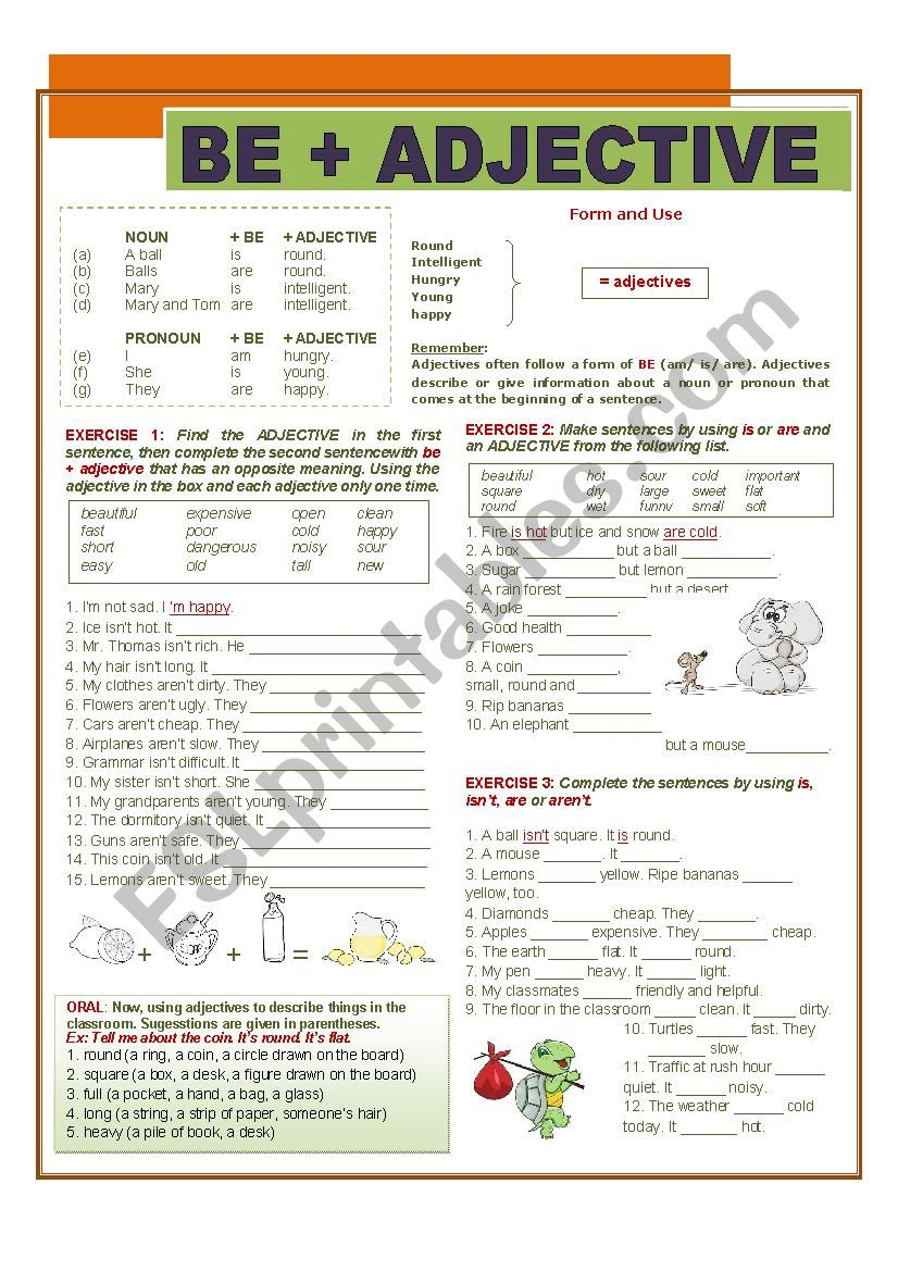 BE + ADJECTIVE worksheet