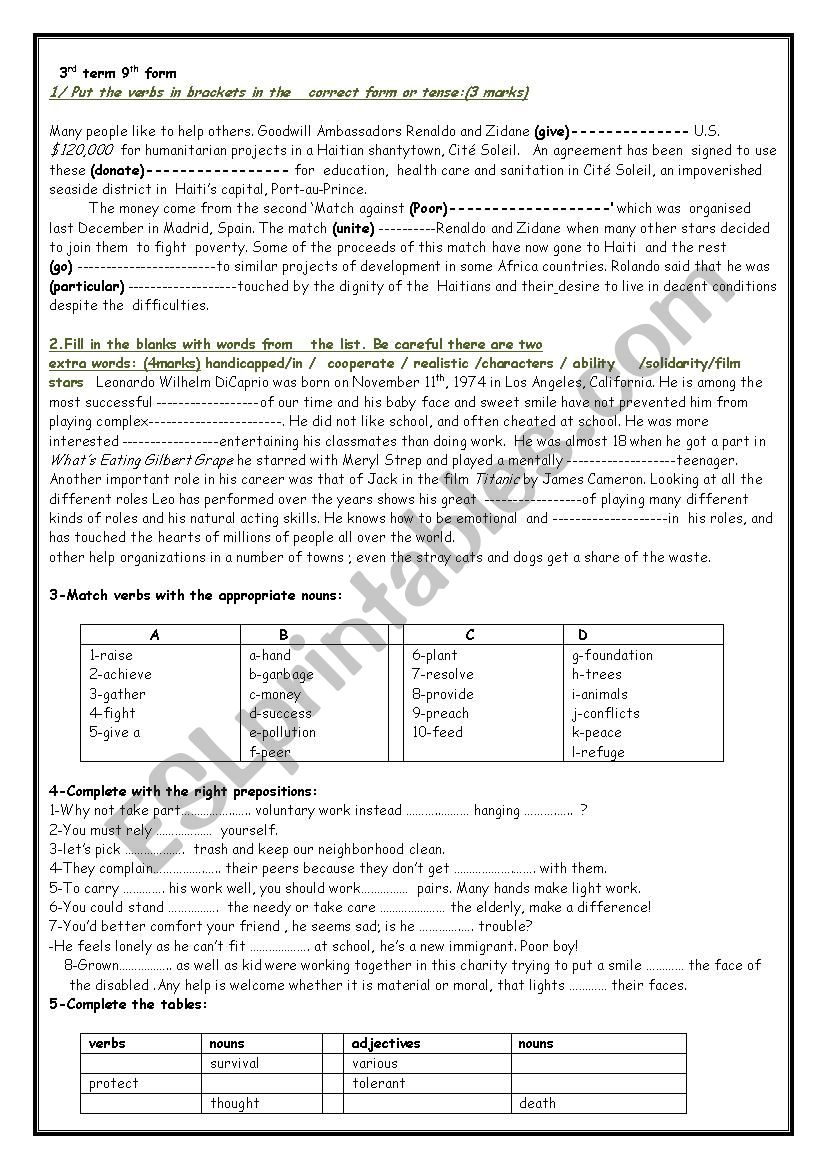 9th form review 3rd term worksheet
