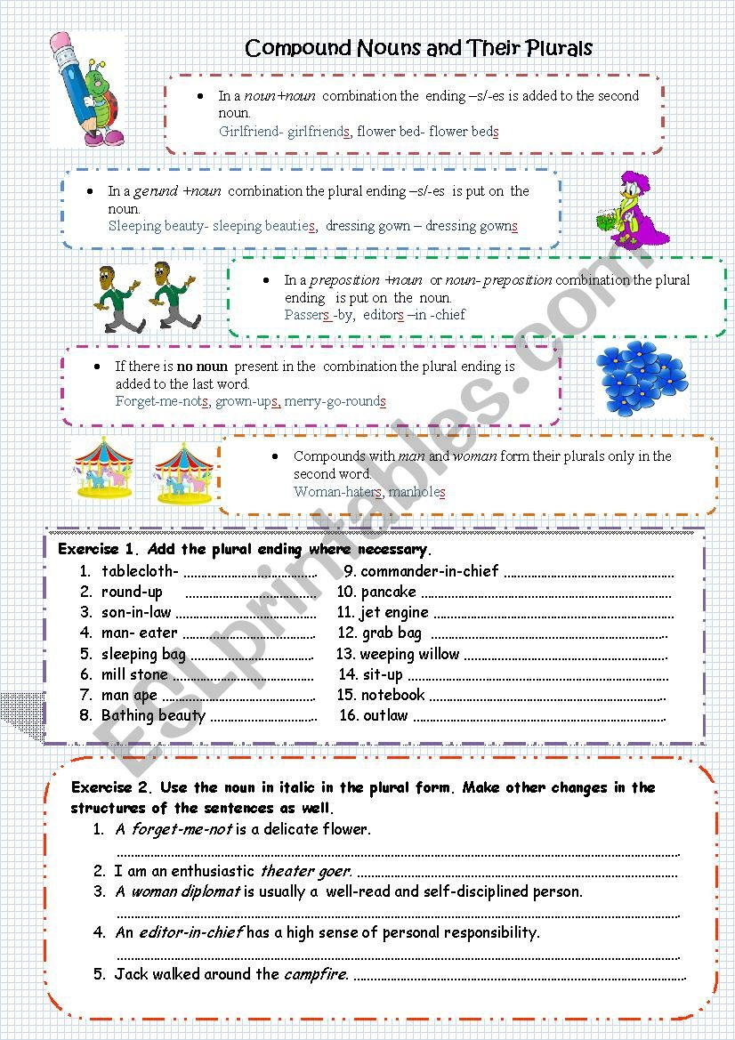 Compound Nouns and their Plurals - ESL worksheet by tusea
