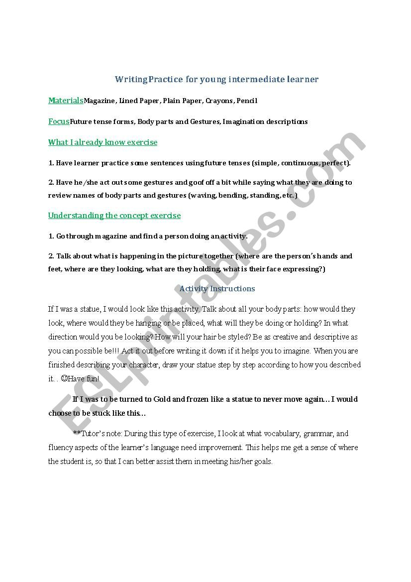 creative writing prompt 1 - esl worksheet by strngnbtful