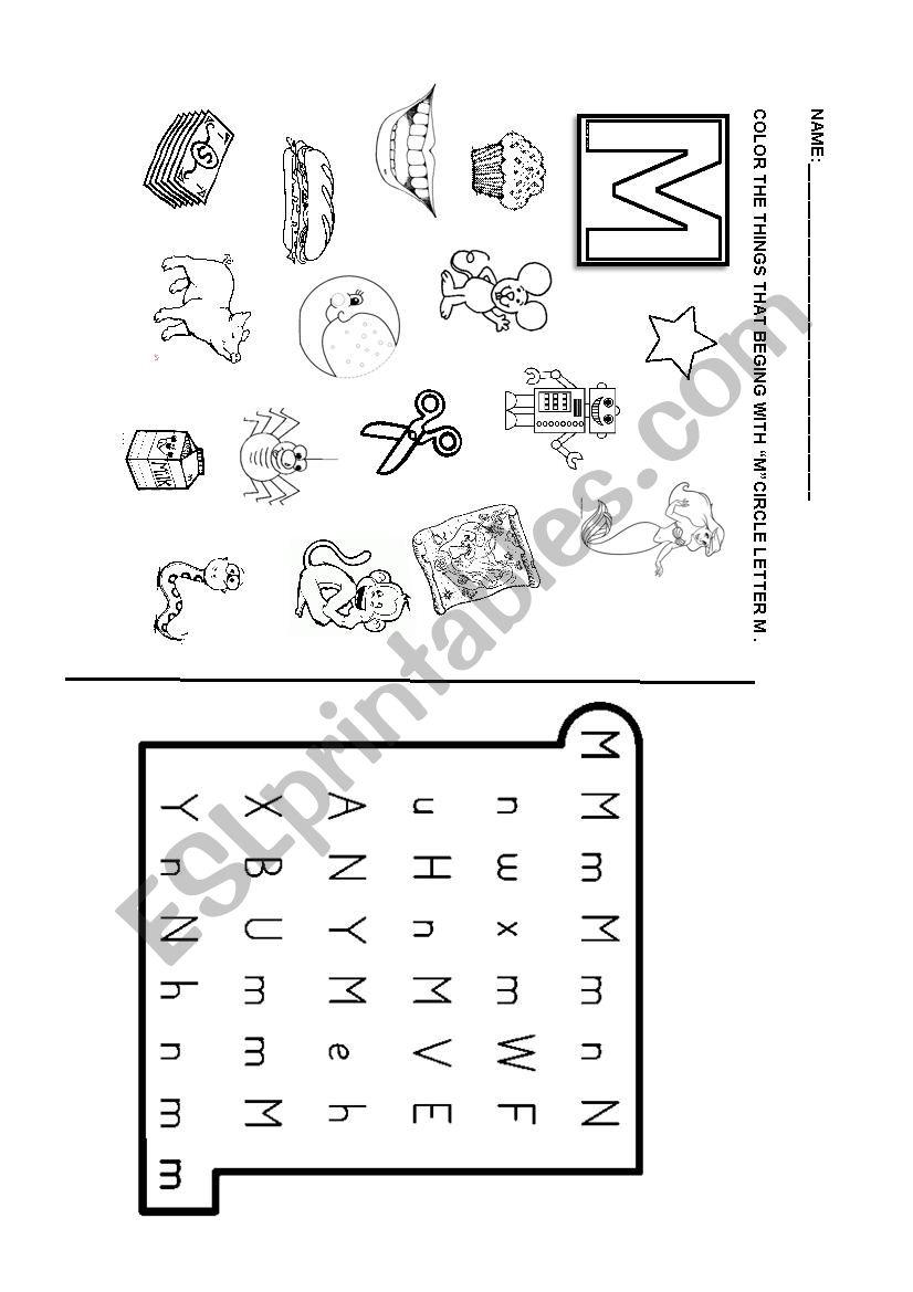 phonics letter m esl worksheet by dianasuarez32. Black Bedroom Furniture Sets. Home Design Ideas