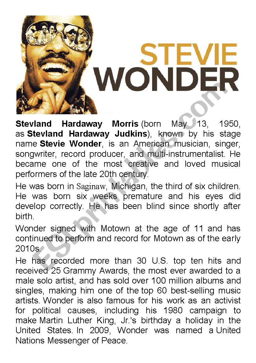 Stevie Wonder - English with Music RnB