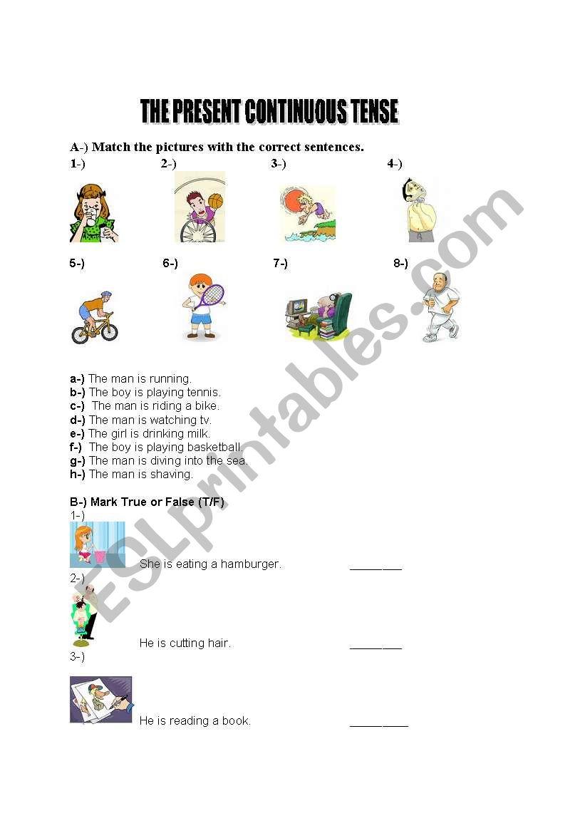 present progressive worksheet