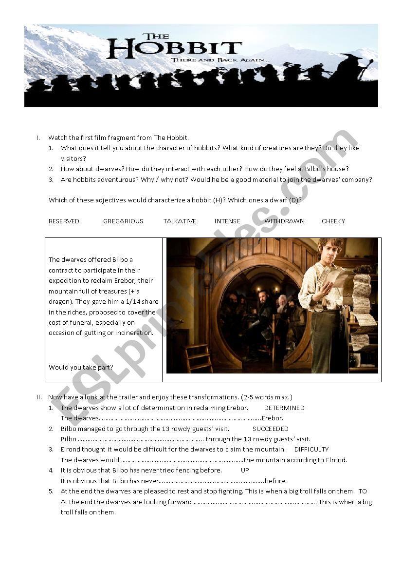 The Hobbit worksheet