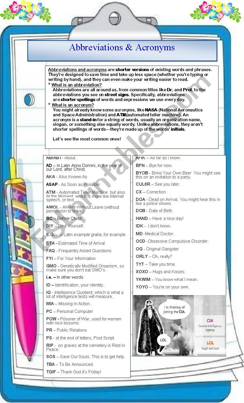 Abbreviations & Acronyms worksheet