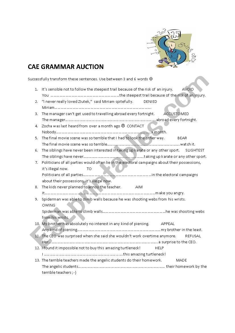 CAE Advanced grammar auction worksheet