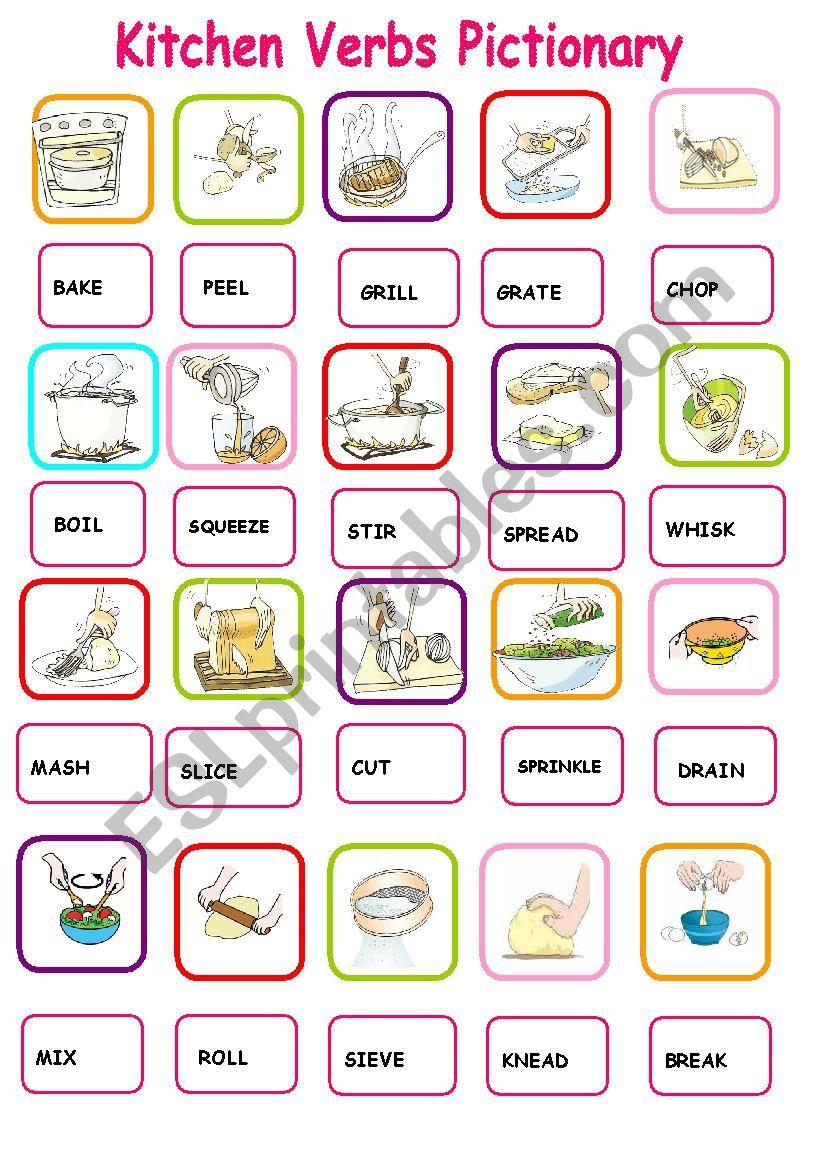 KITCHEN VERBS PICTIONARY 1 worksheet