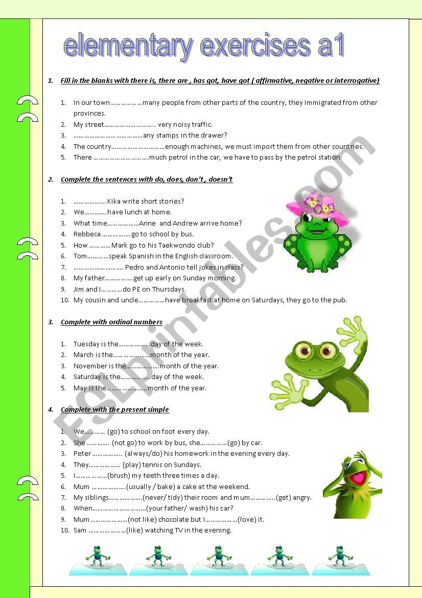 To be. Numbers. Have got . Elementary exercises. A1