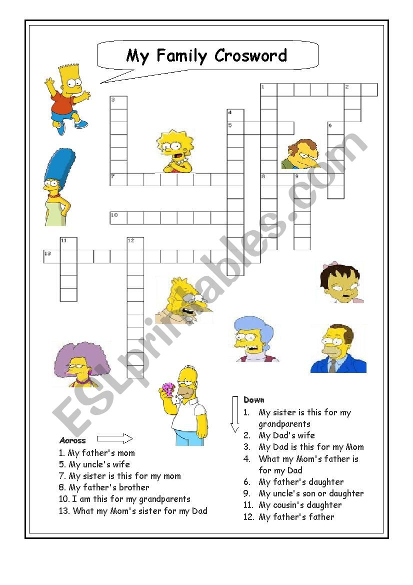 My family Crossword worksheet