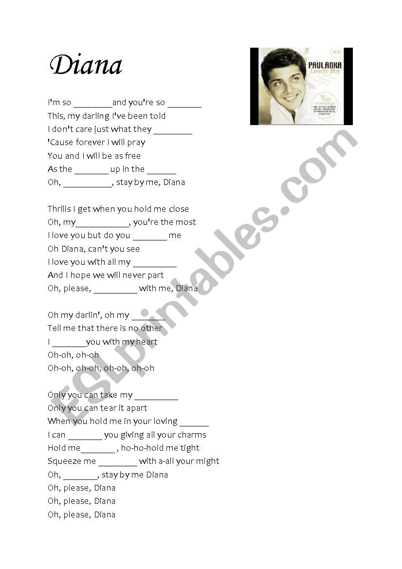 Diana by Paul Anka worksheet
