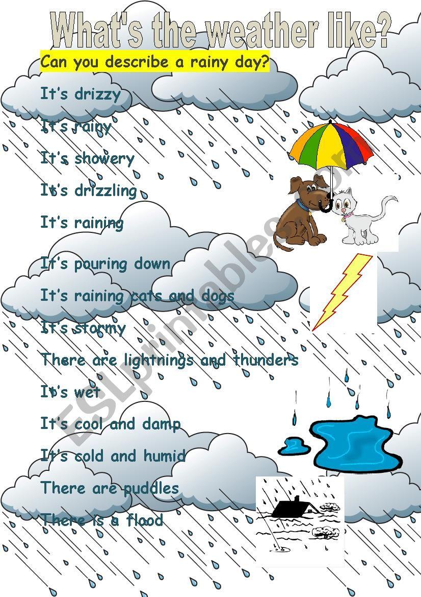 how to describe a rainy day
