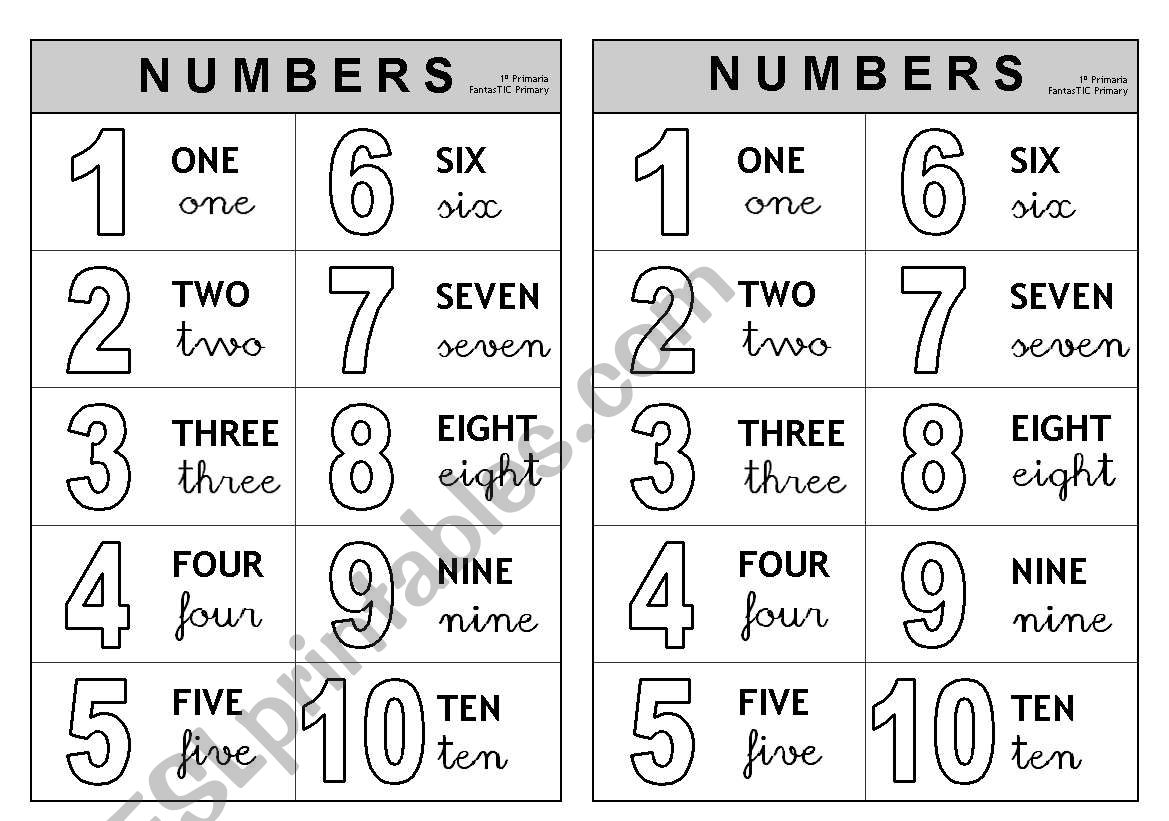 1-10 Numbers - Information (Colouring)
