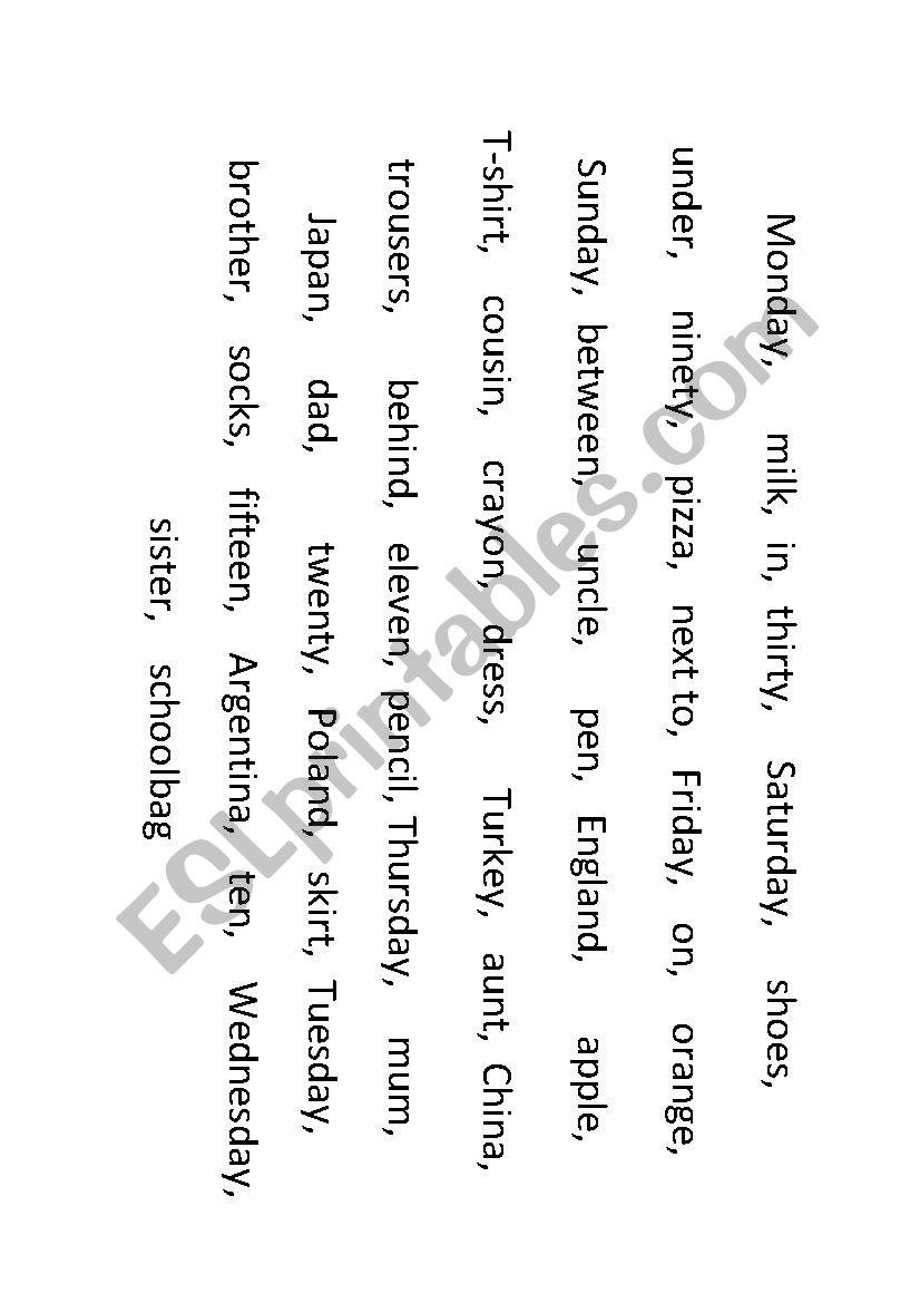 Run for words worksheet