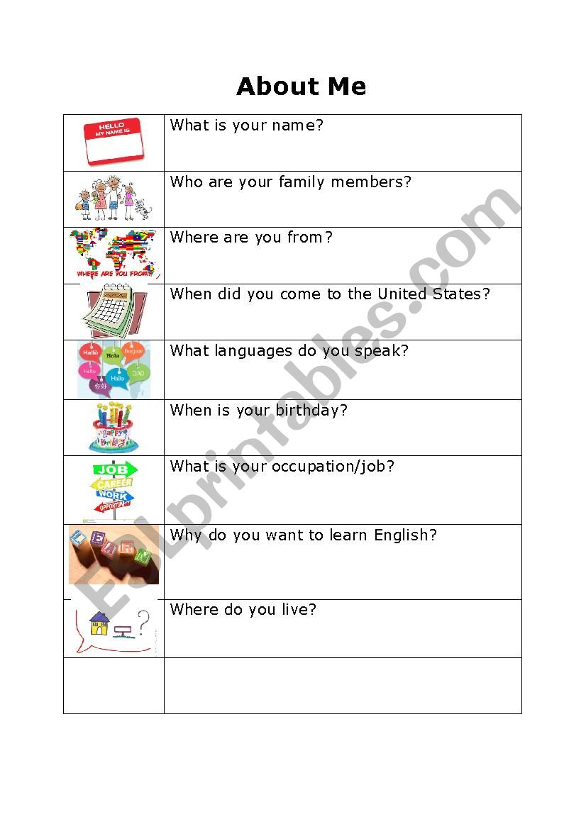About Me (for adults)  worksheet