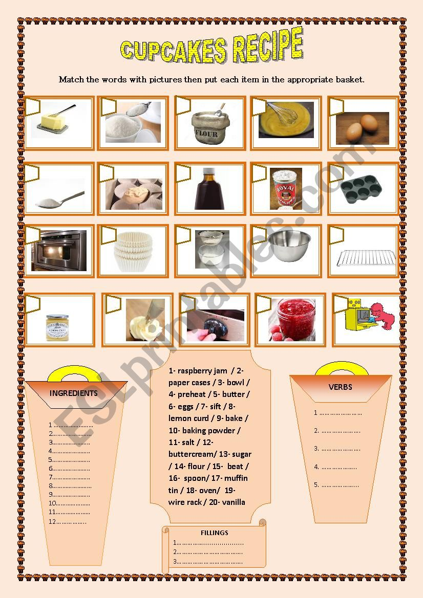 Cupcakes Recipe worksheet